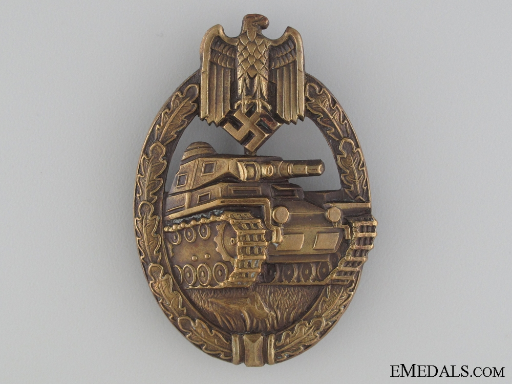 eMedals-An Early Bronze Grade Tank Badge;  Karl Wurster