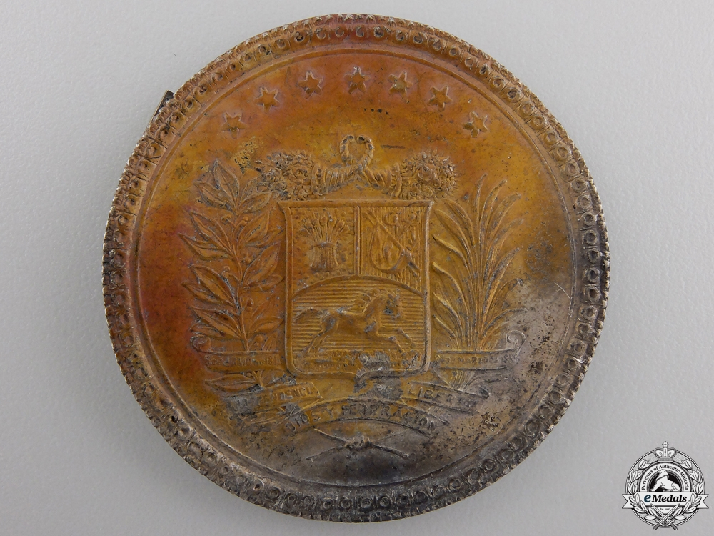 eMedals-An Early Silver Venezuelan Side Cap Badge c.1880