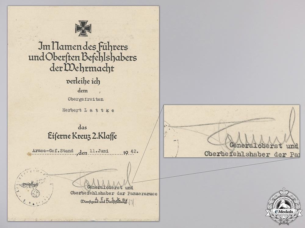 eMedals-An Iron Cross 2nd Class Award Document Signed by Rommel