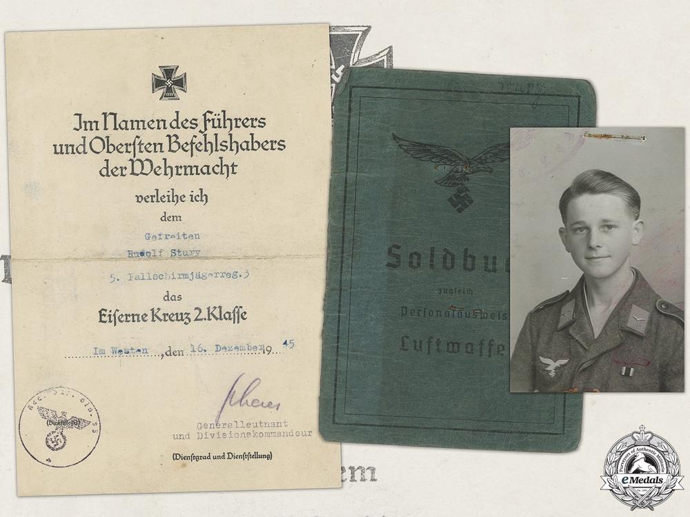 eMedals-An Iron Cross Second Class Document to 5th Fallschirmjäger