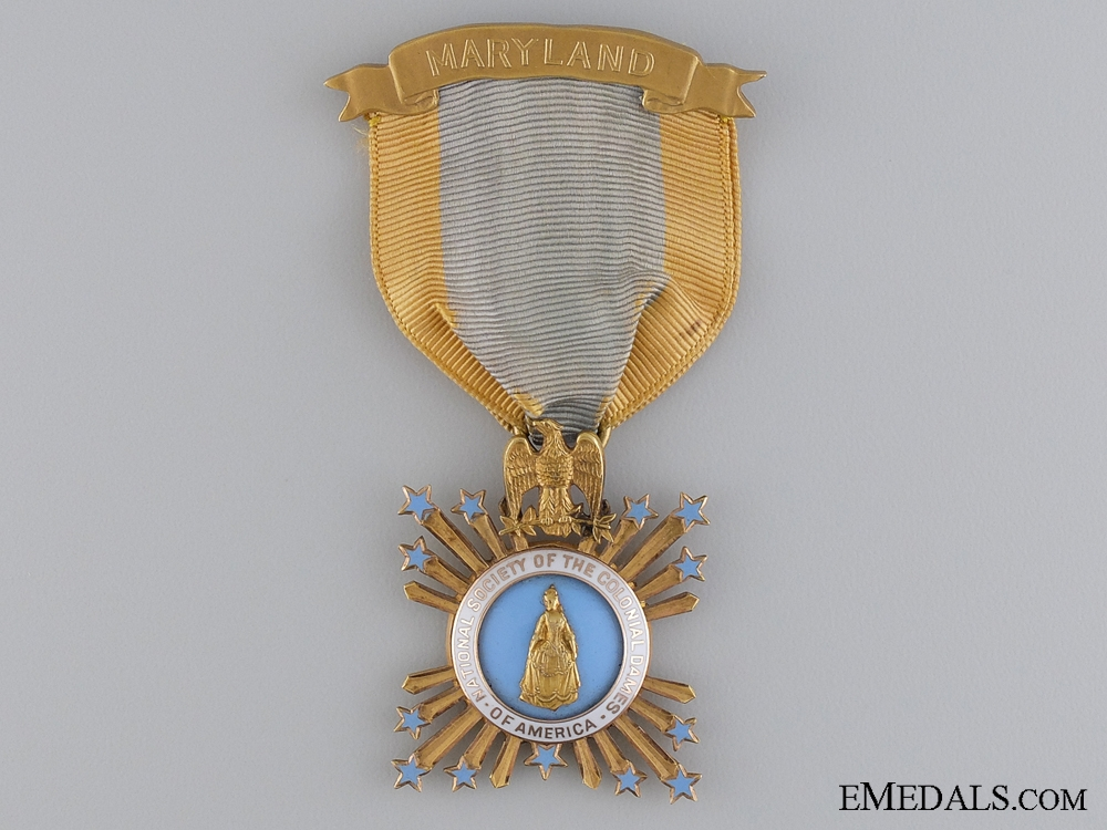 eMedals-An Maryland Colonial Dames of America Membership Badge in Gold