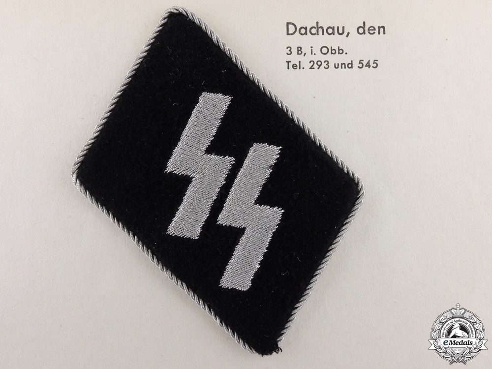 eMedals-An Officer's SS Collar Tab and Dachau Clothing Work Factory