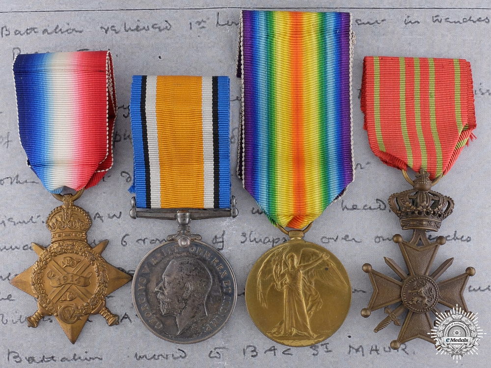 eMedals-An Old Contemptibles Medal Group; KIA at Delangre Farm