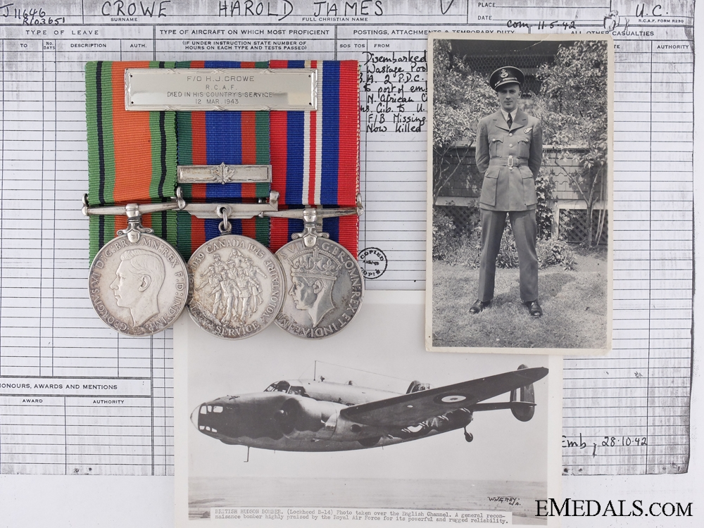 eMedals-An RCAF Memorial Birks Bar; Lost Over the Straits of Gibraltar