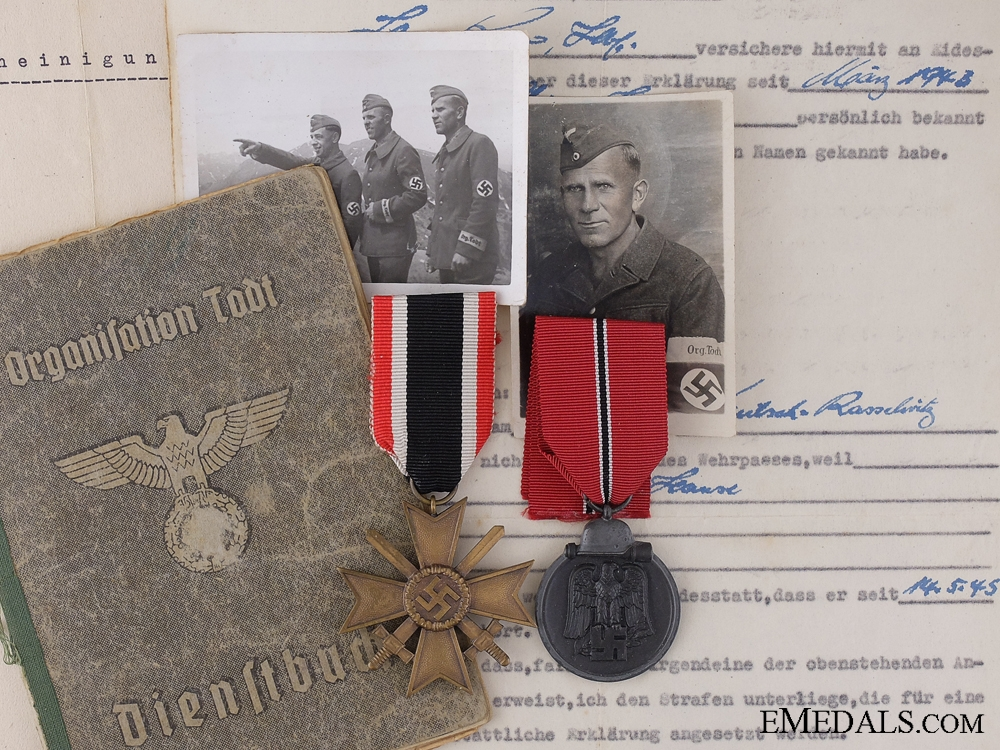 eMedals-An TODT Document Group to Josef Steiner; Narvik Veteran
