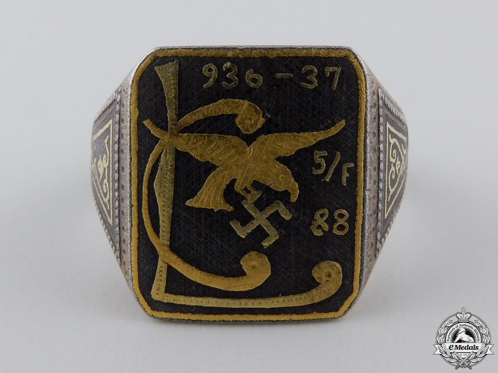 eMedals-An Unusual Condor Legion Ring in Gold & Iron