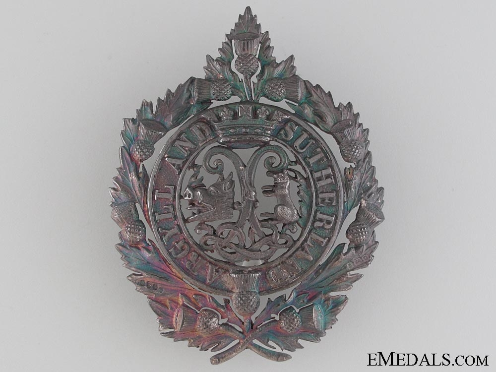 eMedals-Arygll and Sutherland Highlanders (Princess Louise's) Officer's Feather Bonnet Badge