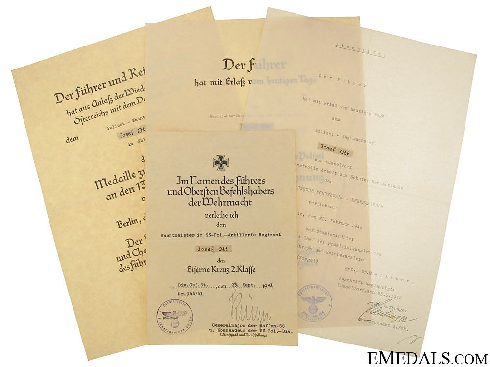 eMedals-Award Documents to Wachmeister im SS-Pol.Artillerie R.