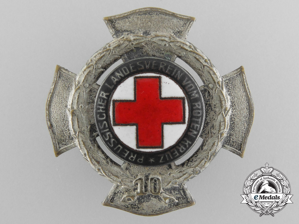 eMedals-A Prussian Red Cross Ten Year Service Badge by Godet