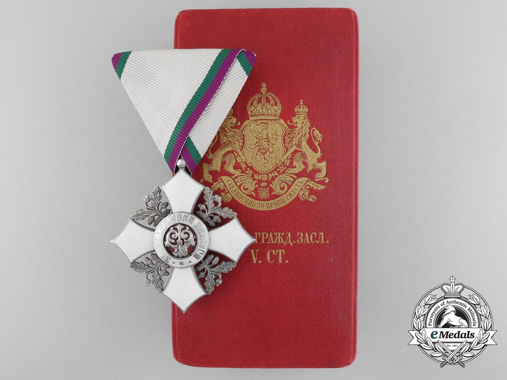 eMedals-A Bulgarian Order of the Civil Merit; 5th Class with Case by J. Schwertner