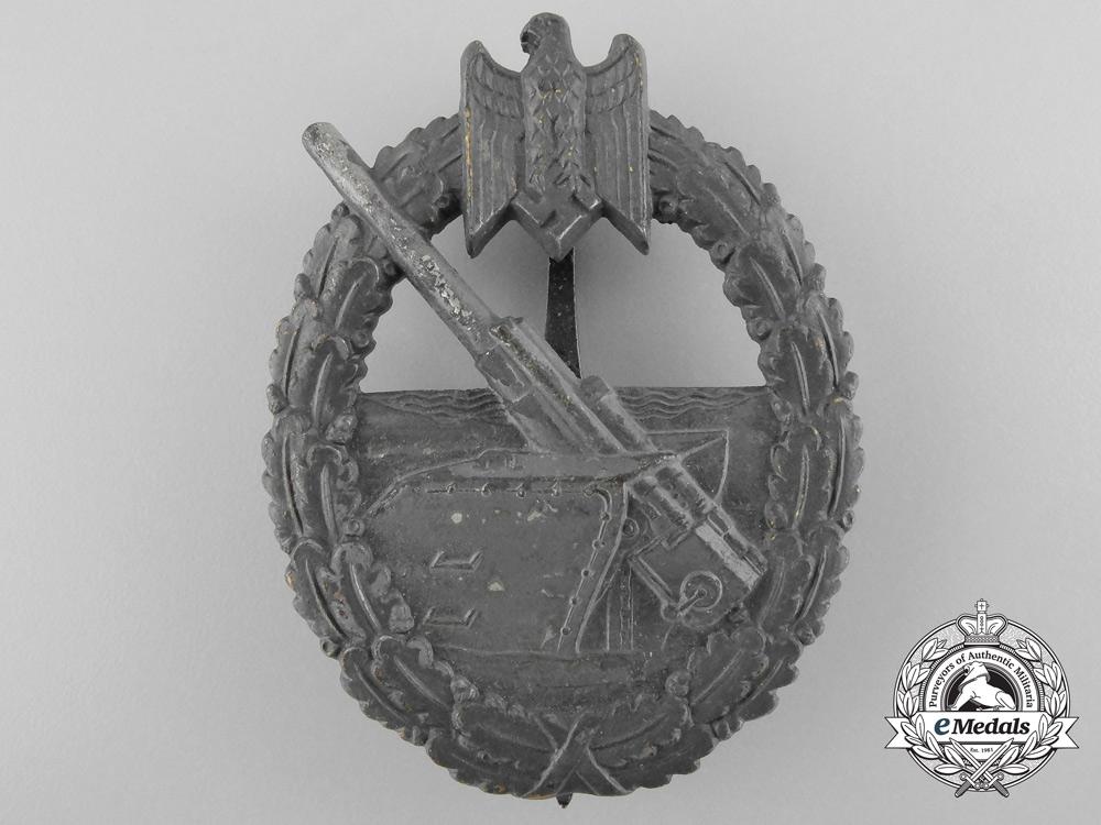 eMedals-A Kriegsmarine Coastal Artillery Badge by Funke & Brüninghaus, Lüdenscheid