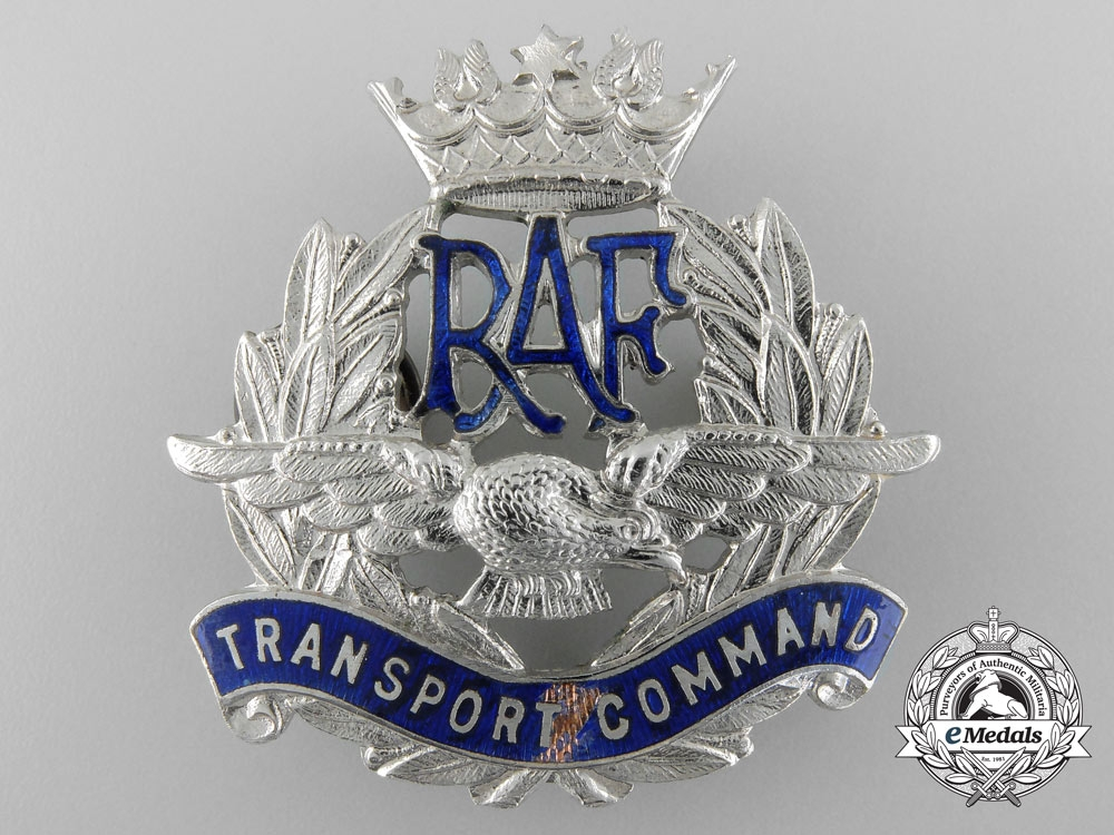 eMedals-A Second War RAF Transport Command; Officer's Peaked Cap Badge