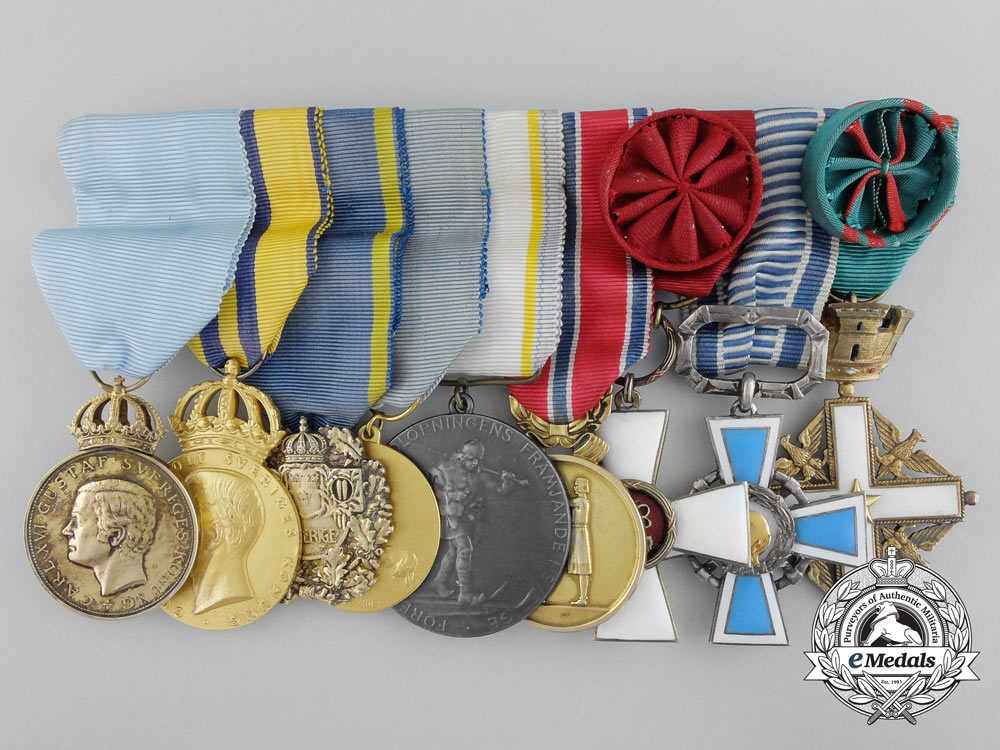 eMedals-A Swedish Award Grouping to Skier, Officer and Sportswriter Sigfrid (Sigge) Bergman
