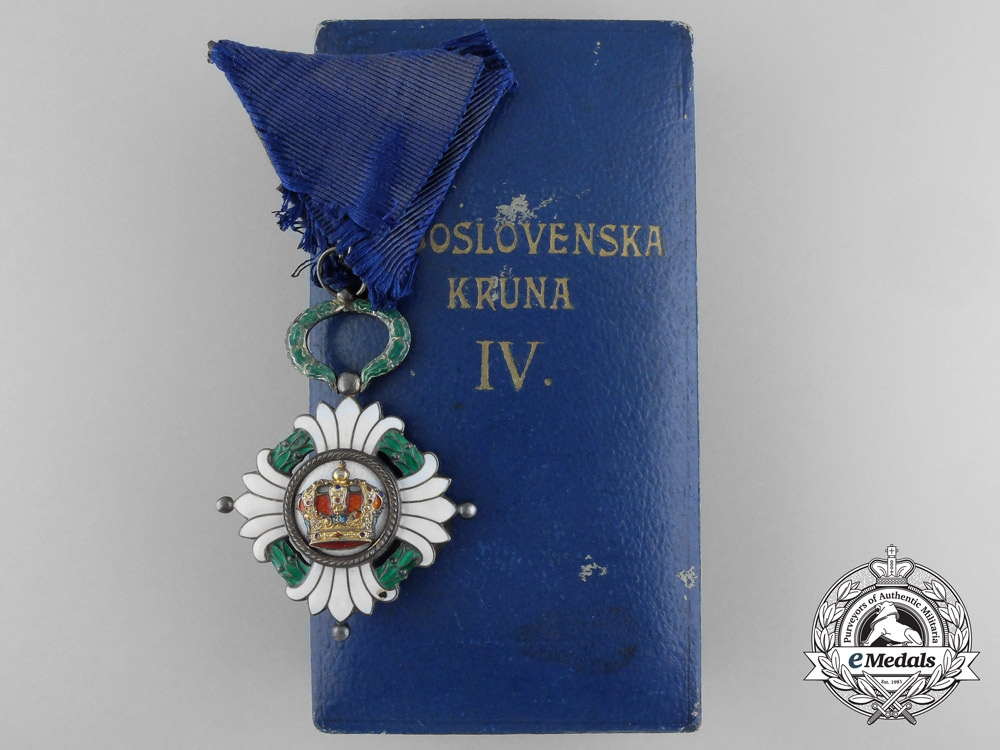 eMedals-Yugoslavia, Kingdom. An Order of the Crown, IV Class with Case, by Huguenin Freres