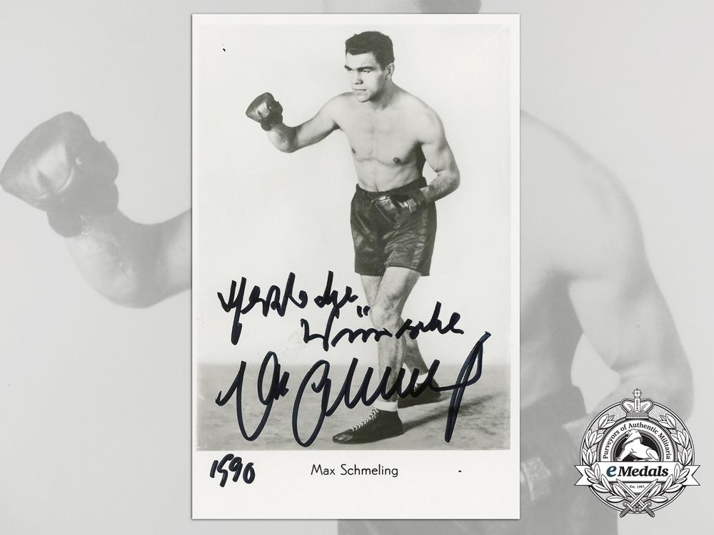 eMedals-A Heavyweight Boxing Champion & Luftwaffe Elite Fallschirmjäger Max Schmeling Signed Photograph