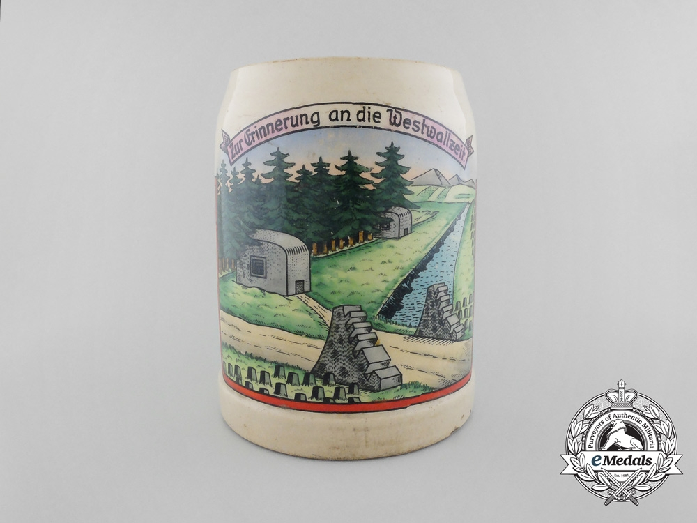 eMedals-A Second War German Bier Stein in Remembrance of the Siegfried Line (West Wall)