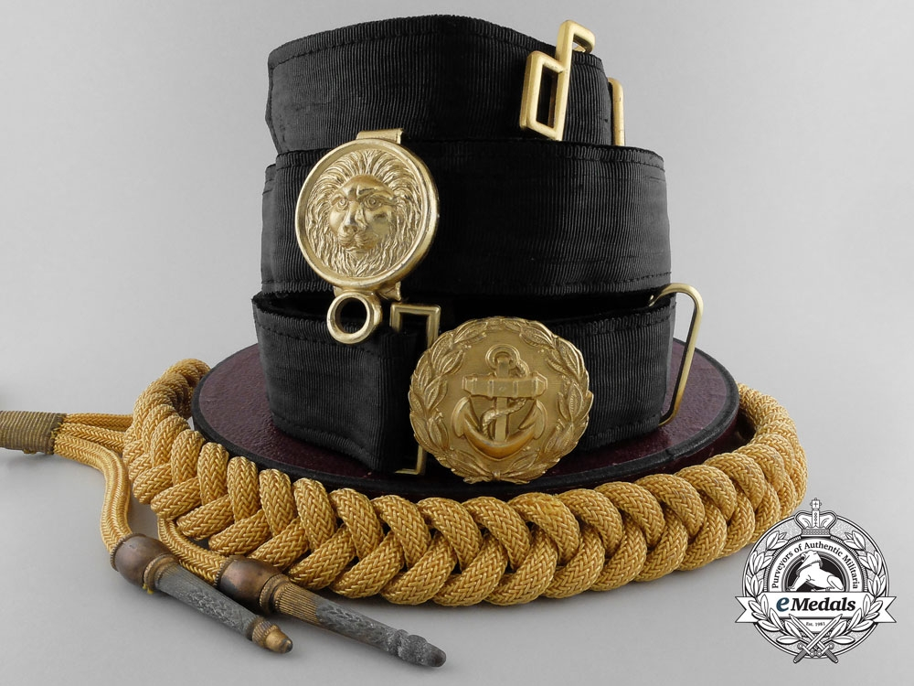 eMedals-A Kriegsmarine Officer's Undress Belt & Buckle with Aiguillette and Case