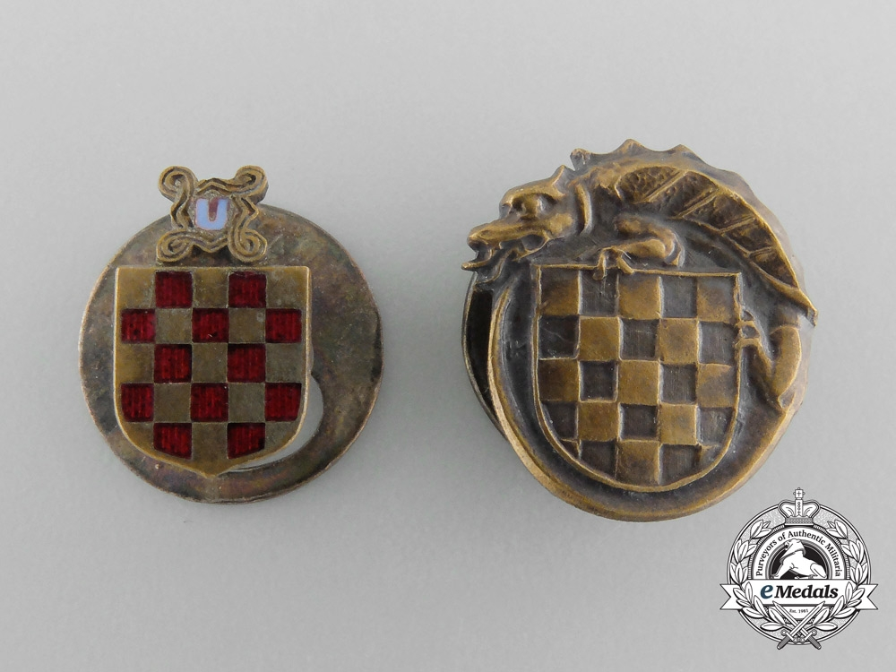 eMedals-Two Croatian Second War Period Button-hole Miniatures
