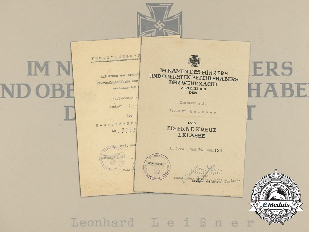eMedals-Germany, Kriegsmarine. Award Documents Signed by U-boat Captain & KC with Swords Recipient Reinhard Suhren