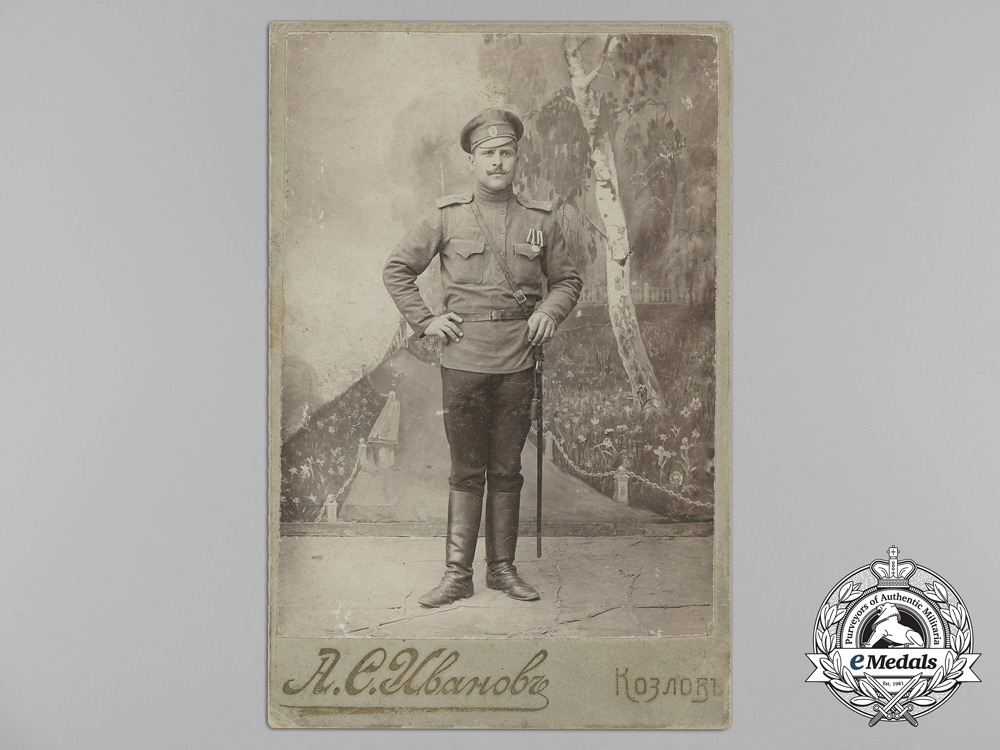 eMedals-Russia, Imperial. A Studio Photo of a Solider with Two Awards