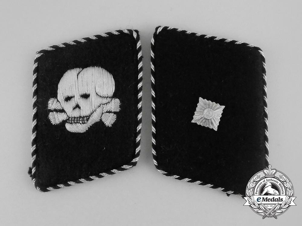 eMedals-A Set of Waffen-SS Totenkopfverband Unterscharführer Rank Collar Tabs; RZM Tagged