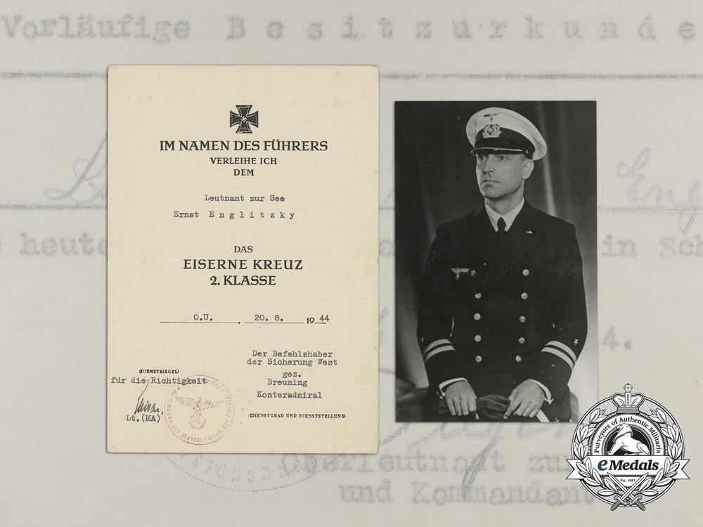 eMedals-Germany, Kriegsmarine. Two Award Documents to Leutnant zur See; Wound Badge & EK