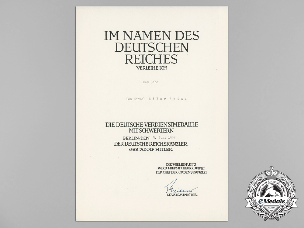 eMedals-Germany, Heer. A German Eagle Order with Swords Award Document to Spanish Recipient