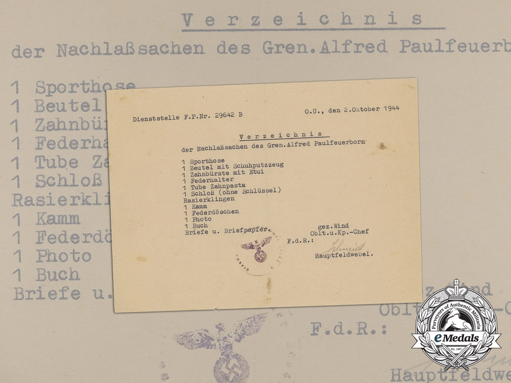 eMedals-A List of Assets for Fallen Grenadier Alfred Paulfeuerborn 1944