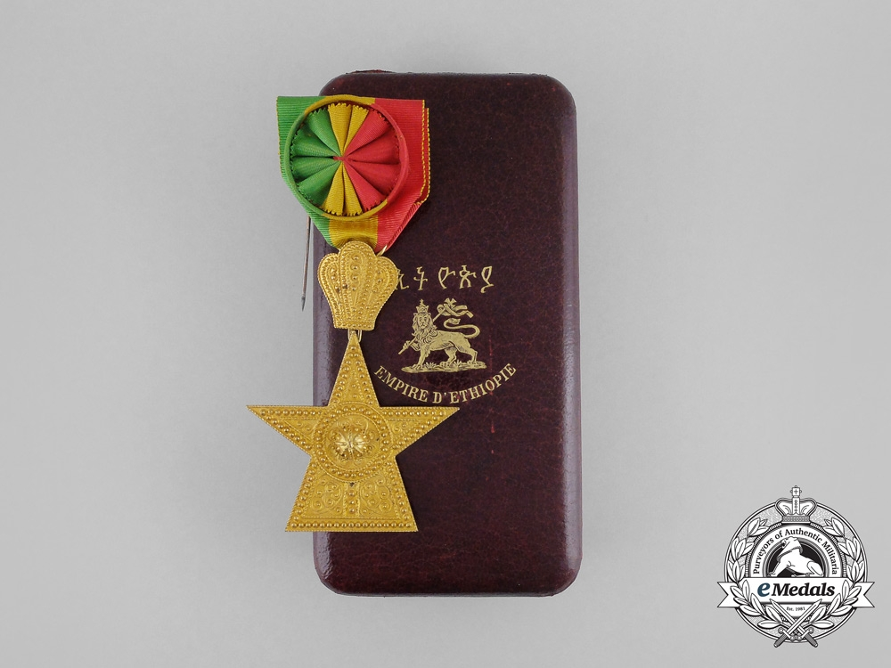 eMedals-Ethiopia. An Order of the Star, 3rd Class Officer with Case