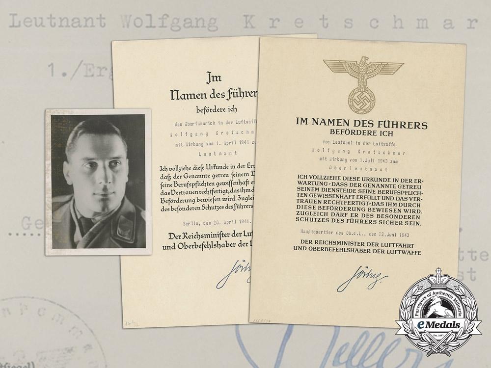 eMedals-An Extensive Document Group to Luftwaffe Ace Wolfgang Kretschmer; 19 Victories
