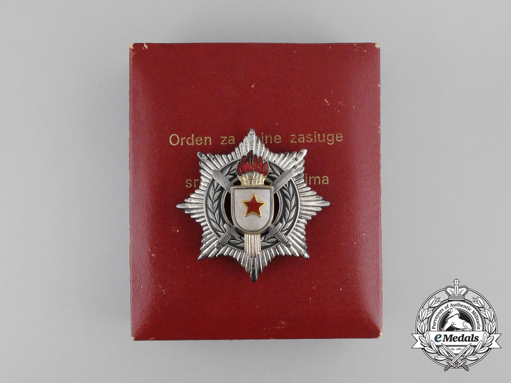 eMedals-A Yugoslavian Order of Military Merit with Silver Swords; 3rd Class with Case