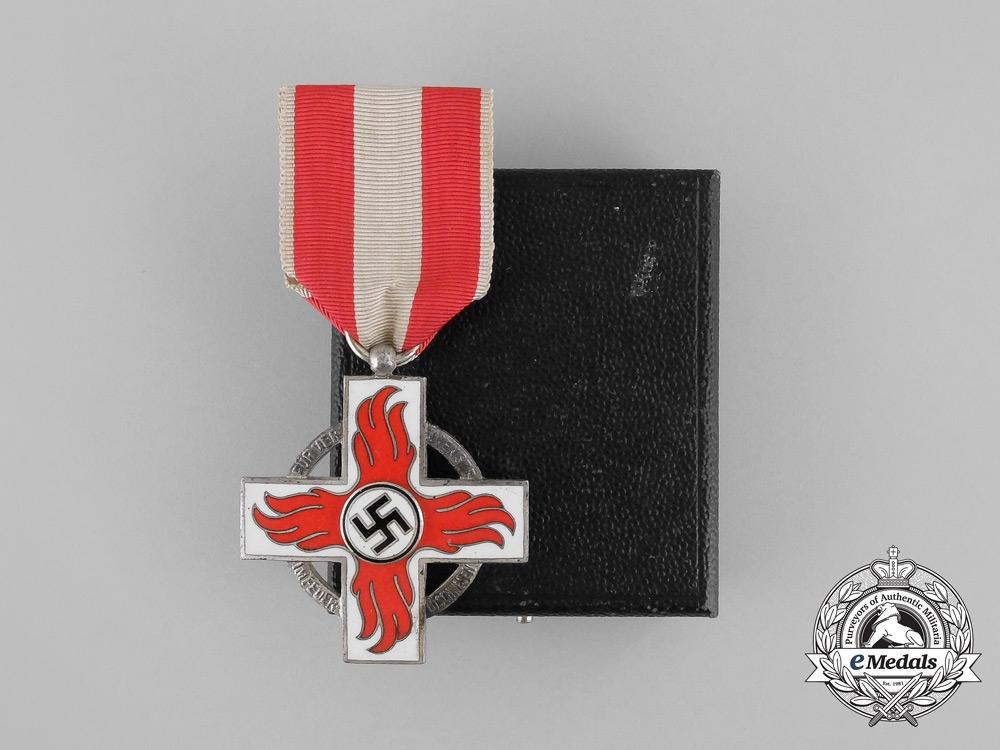 eMedals-A Mint Cased German Fire Brigade Service Cross Second Class by Glaser & Sohn