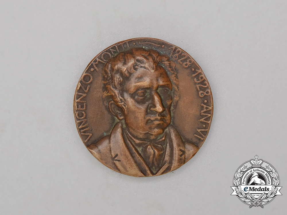 eMedals-A 100th Anniversary of the Death of the Poet Vincenzo Monti Commemorative Medal 1828-1928
