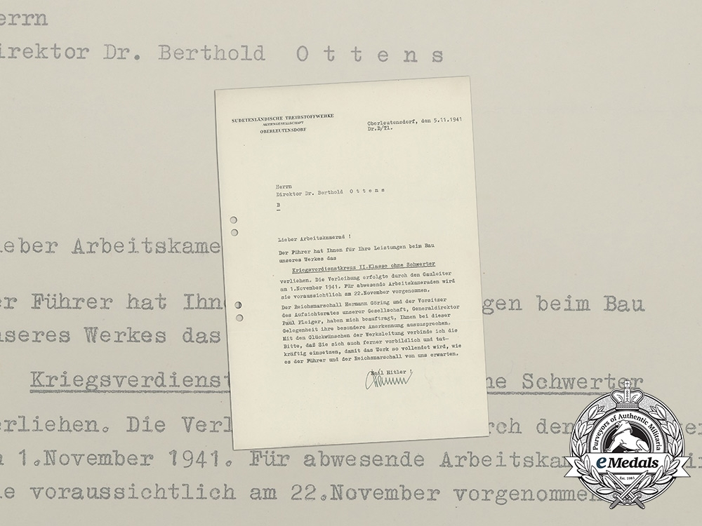 eMedals-A War Merit Cross 2nd Class Award Document to Director Ottens of State Fuel Company