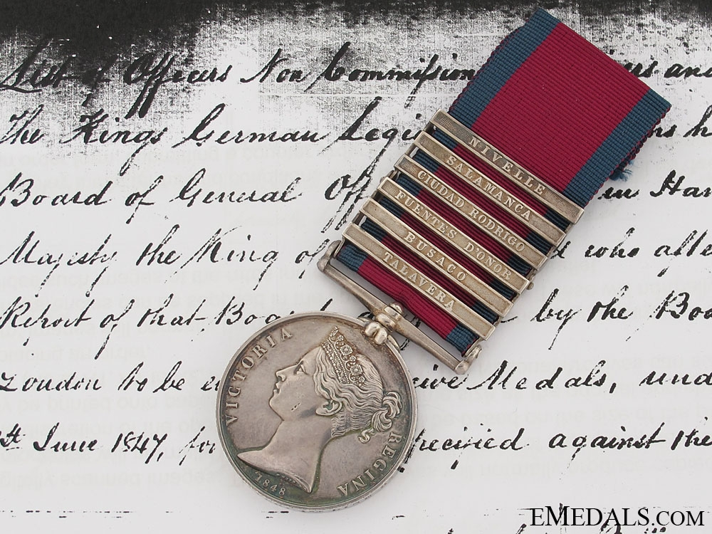 eMedals-Military General Service Medal, Private Charles Gunter, 1st Line Battalion, King's German Legion