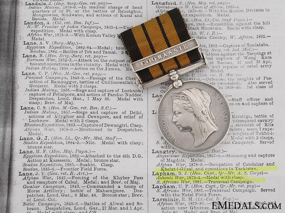 eMedals-Ashantee Medal to R. J. Lapham