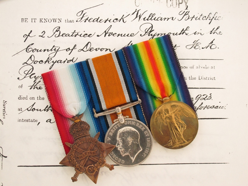 eMedals-WWI Trio- Lieutenant F.R. Britchfield, Royal Navy