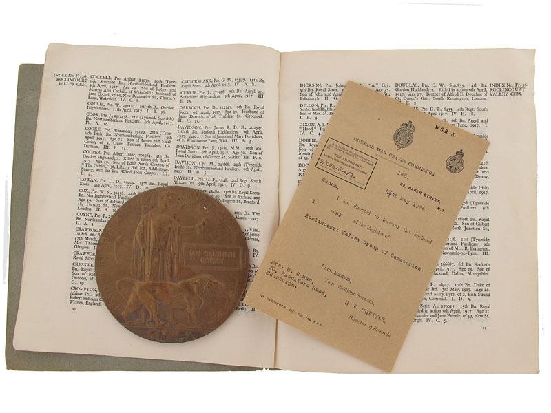 eMedals-Memorial Plaque - Cpl.Gowan, KIA Vimy Rdige