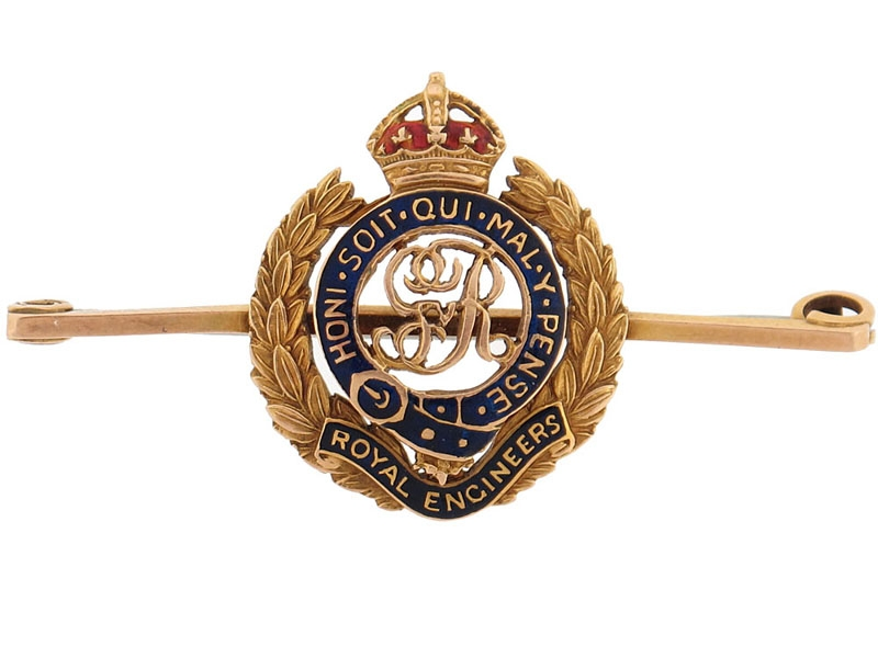 eMedals-WWI Royal Engineers Tie Clip in Gold
