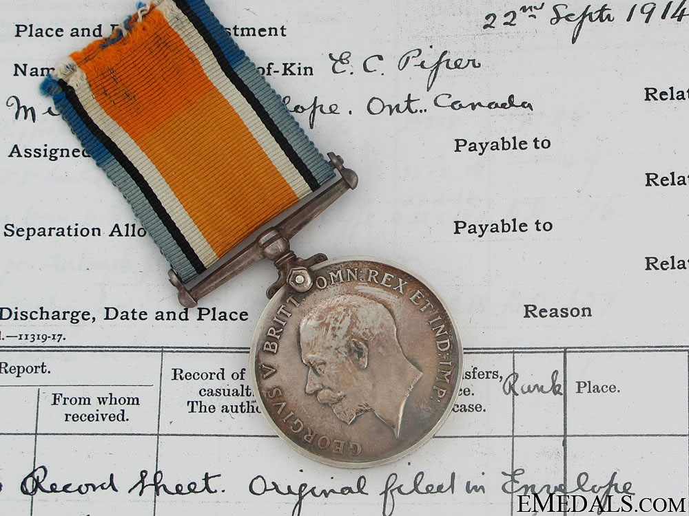 eMedals-British War Medal -  Pte. W. Piper 2-Can.Inf.