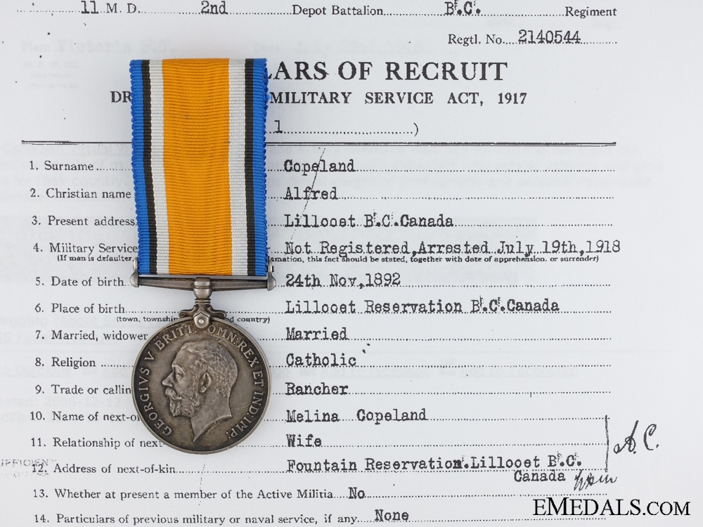 eMedals-British War Medal to Native Canadian; British Columbia Regiment