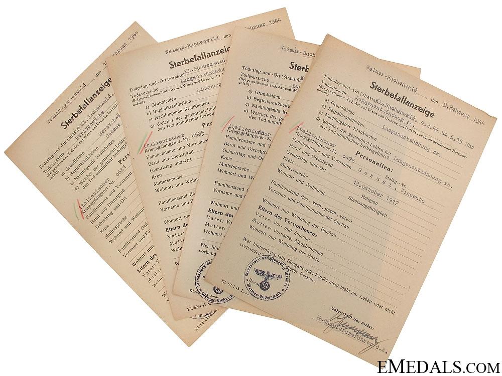 eMedals-Buchenwald Kamp Death Notice of Italian POW's