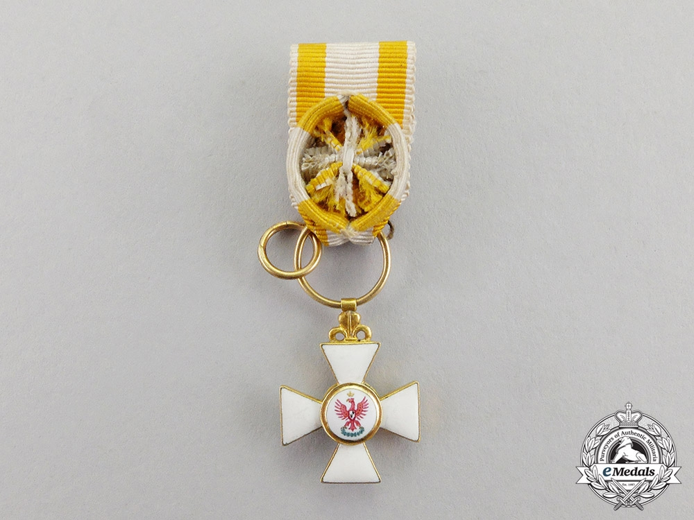 eMedals-Prussia. An Outstanding & Early Miniature Red Eagle Order Officer's Cross, c.1800