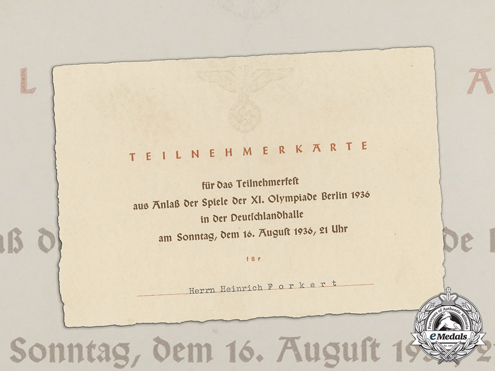 eMedals-Germany. An Attendee Card for Participants' Party at Closing of Olympic Games 1936