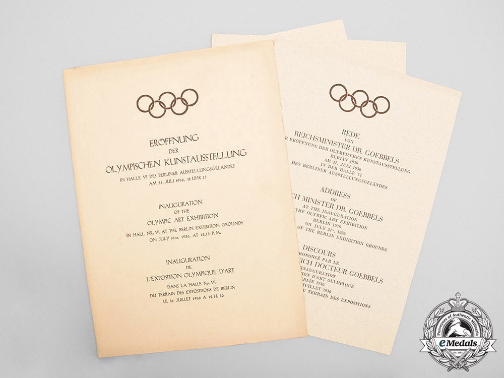 eMedals-Germany, Third Reich. A Scarce Set of 1936 Olympic Art Exhibition Opening Speeches with Menu
