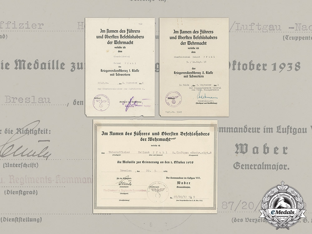 eMedals-Germany. An Award Document Collection to Oberfeldwebel Pfuhl, 5./Ln.Regt.38