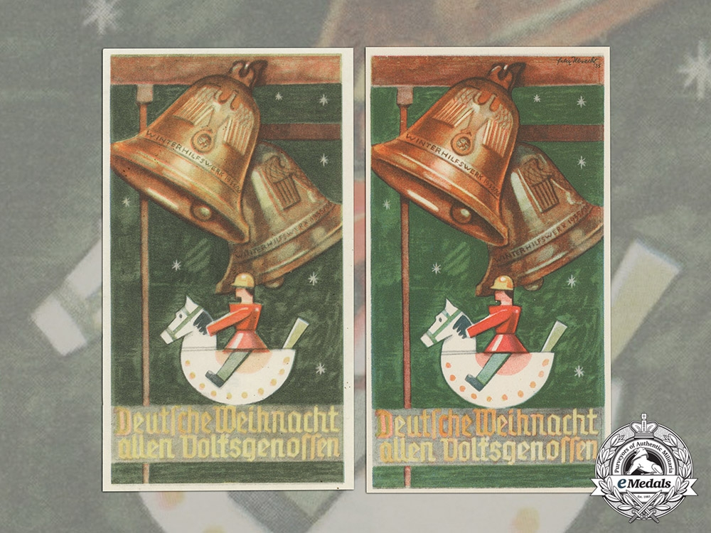 eMedals-Germany. Two Winterhilfswerk (WHW) German Christmas to All Fellows Handouts, 1935-1936