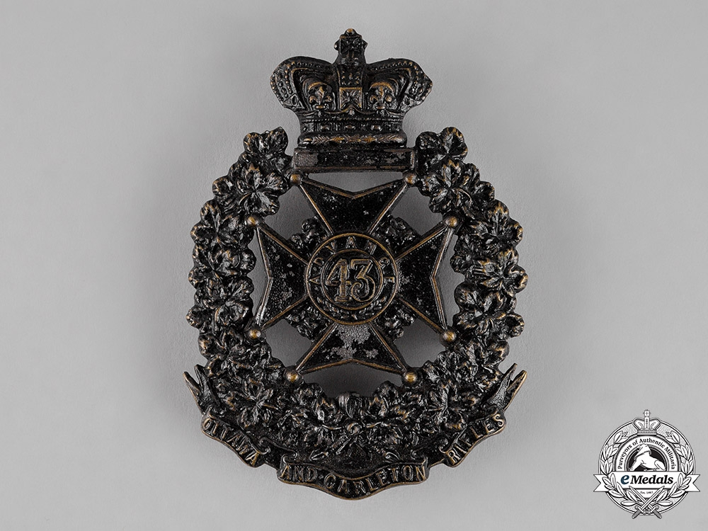 eMedals-Canada. A Victorian 43rd Ottawa and Carleton Battalion of Rifles Shoulder Belt Plate, c.1882