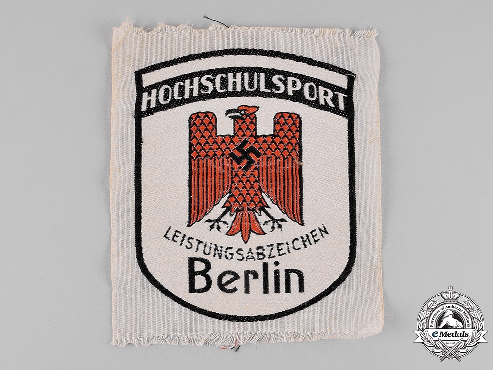 eMedals-Germany, Third Reich. A College/University of Berlin Sports Proficiency Insignia; Cloth Version