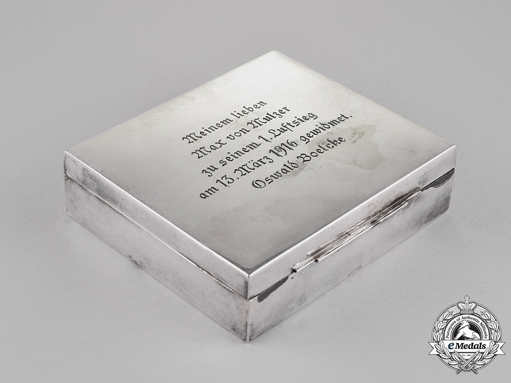 eMedals-Germany. A Cigarette Case to Max v. Mulzer for his First Aerial Victory from Oswald Boelcke; PLM Winners